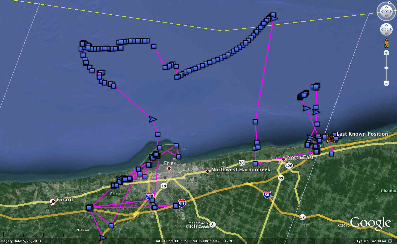 Erie's ambling track across southern Lake Erie, drifting on wind-blown ice with a few respites on shore. (©Project SNOWstorm)