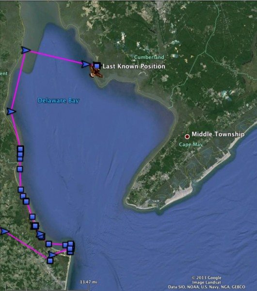 Henlopen's track (including a bit that shows the transmitter being driven to Cape Henlopen Sunday). (©Project SNOWstorm)