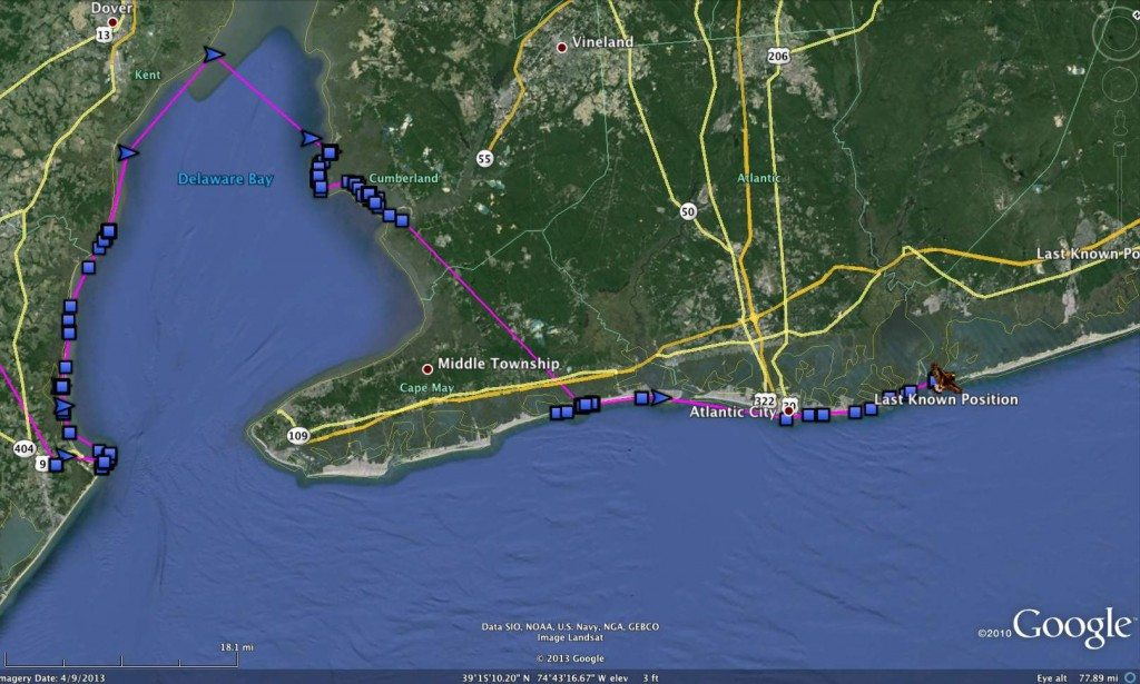 Henlopen's track from Feb. 9-17, a remarkably similar route to one taken by Assateague two months earlier. (©Project SNOWstorm)