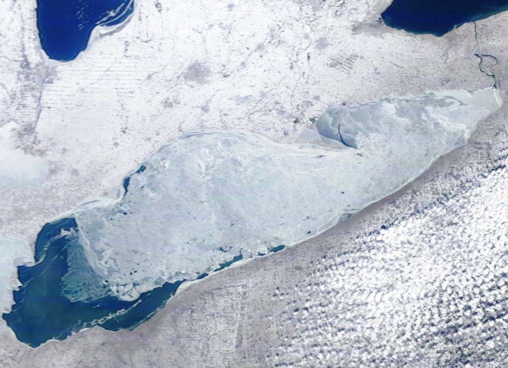 Lake Erie from space on Feb. 22, showing the open water between Long Point and Port Dover where Erie is hunting. (NOAA CoastWatch /Lake Erie MODIS Imagery)