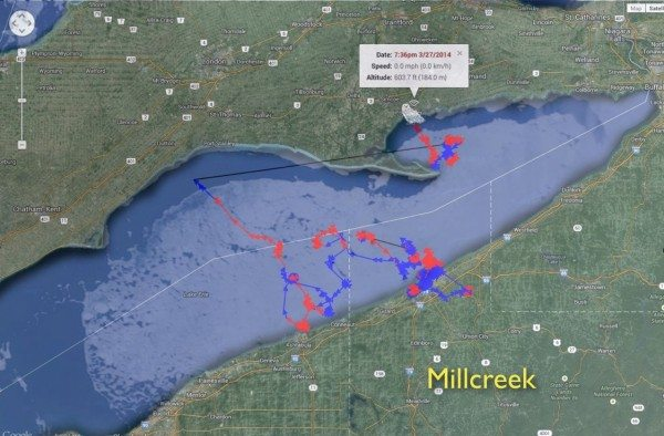 Millcreek's on-ice movements this winter. (©Project SNOWstorm and Google Earth; MODIS ice imagery by NOAA CoastWatch )