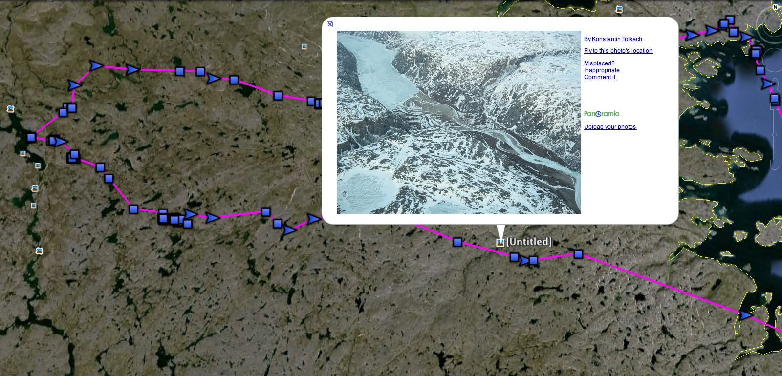 Using Google Earth's Panoramio feature, you can get a glimpse of the dramatic landscapes where Century spent the summer, like this aerial view of the snowy tundra. (©Project SNOWstorm and Google Earth)