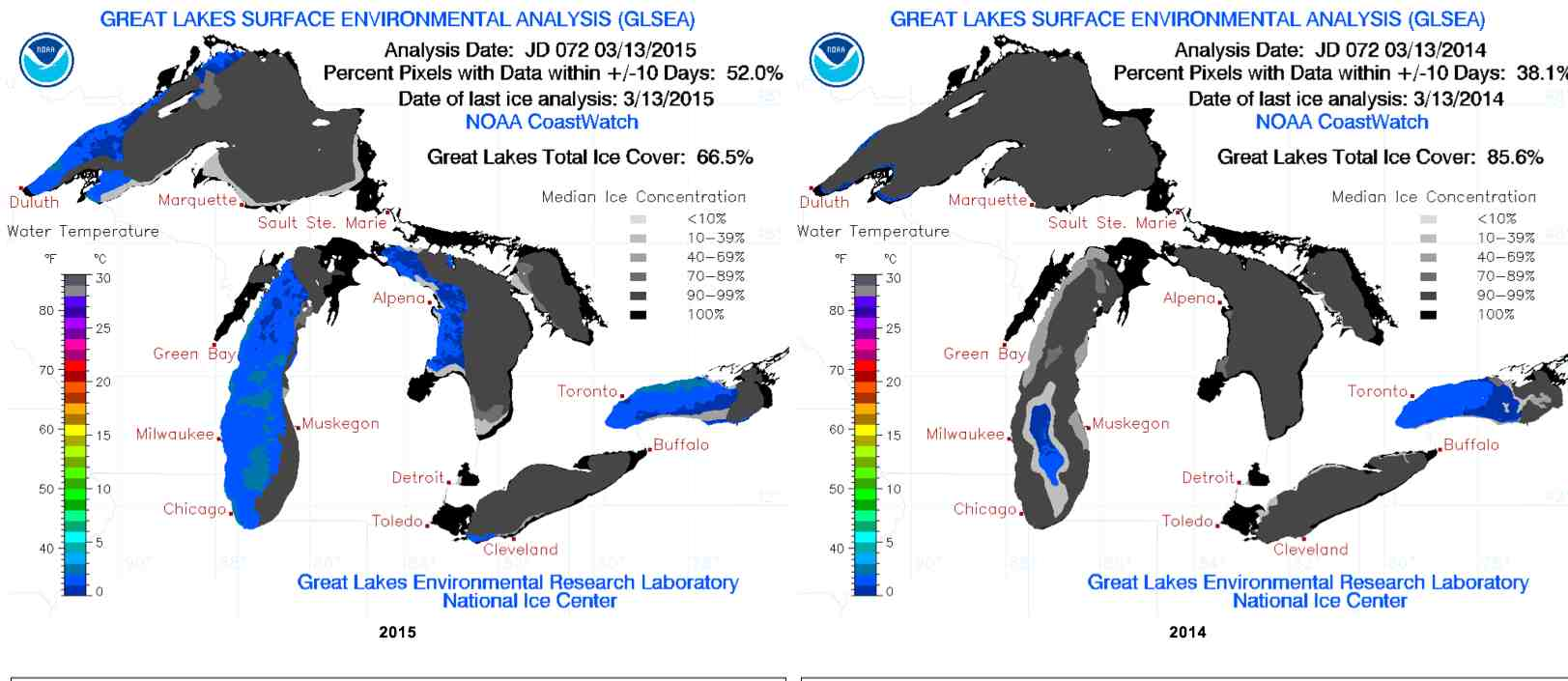 A comparison of ice conditions on March 14 this year (left) and last year on the same date shows a lot more open water (in blue) this winter. (NOAA)
