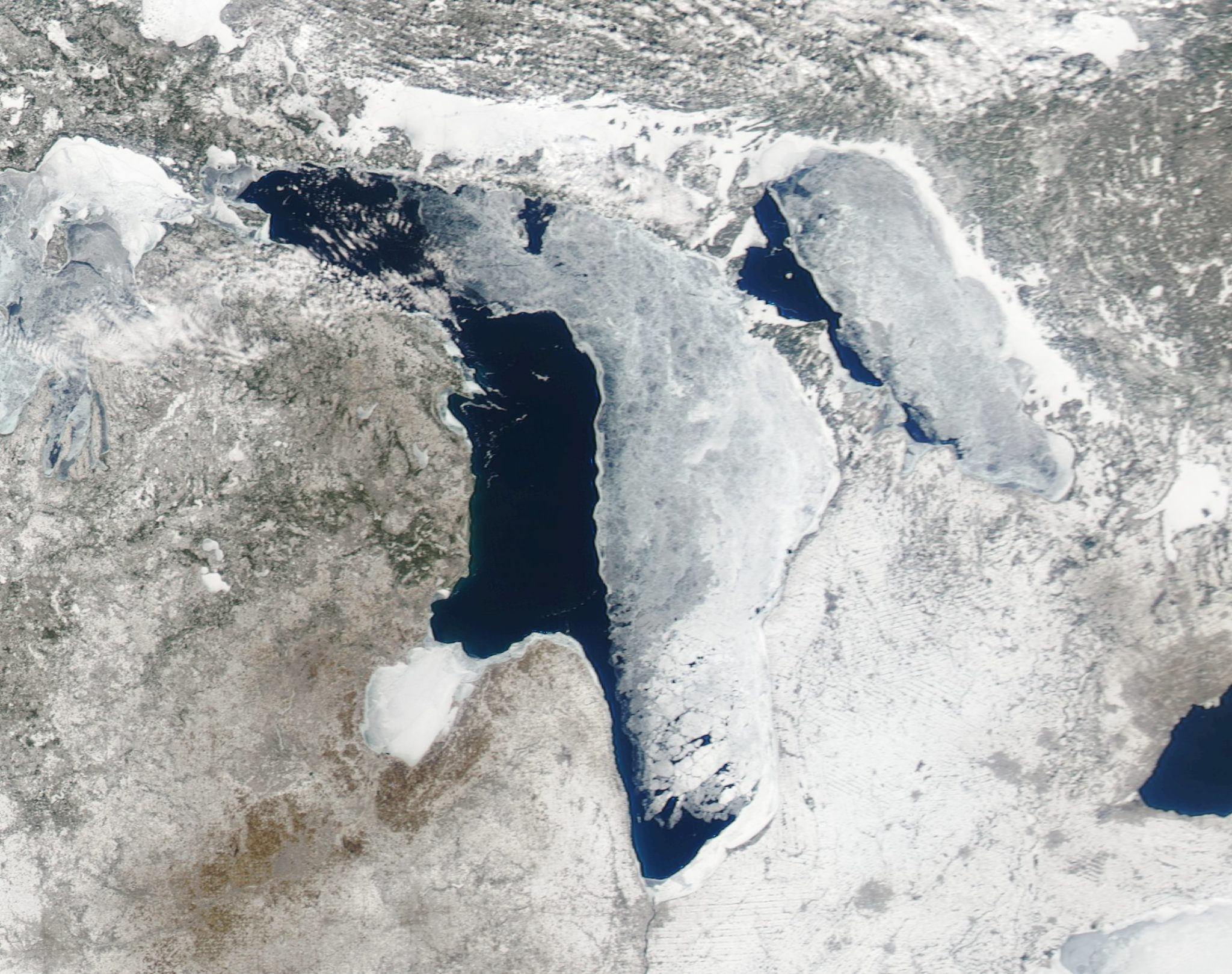 Ice cover on Lake Huron -- including a lot of open water along the western shore. (NOAA CoastWatch MODIS imagery)