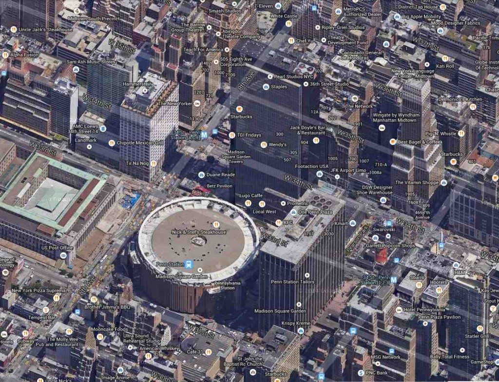 One Penn Plaza and Madison Square Garden (©Google Maps)
