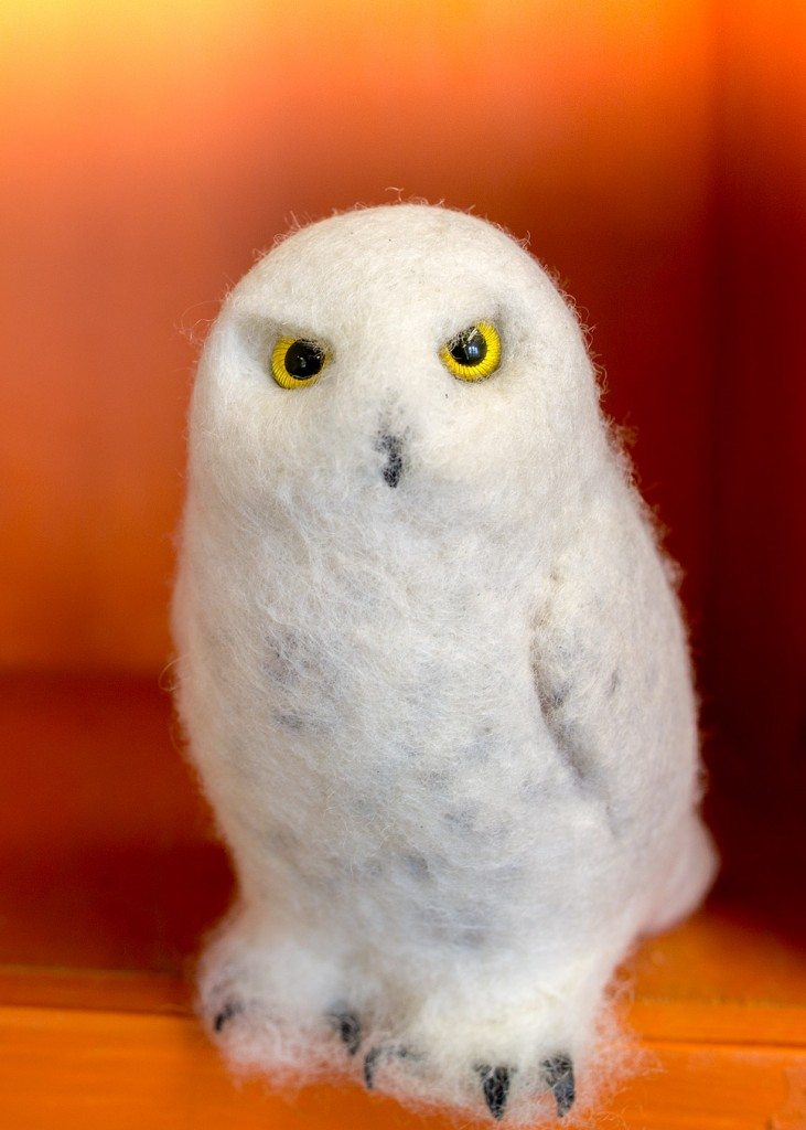 A felt plush snowy owl, one of five donated by Unreal Birds as a new perk in the final days of our Indiegogo campaign.