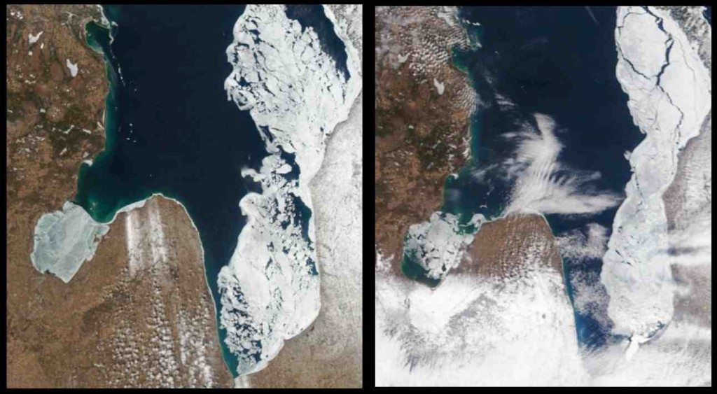 "Comparison of ice on Lake Huron on March 28 (left) when the wind was from the northeast, and March 31, when it was southerly, pushing the ice out of Saginaw Bay, the ""thumb"" to the lower left. (MODIS imagery from NOAA CoastWatch)"