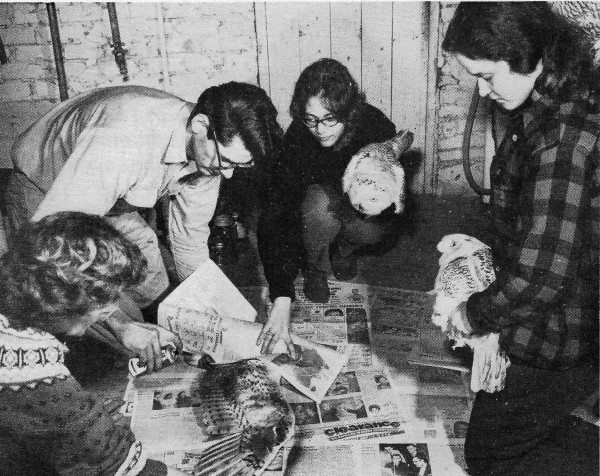 Left to right, Fran Hamerstrom, Dan Berger, Cynthia Schachter and Nancy Mueller spray painting a Snowy Owl in a suburban basement. Image courtesy of The Iowa State University Press Ames Iowa, photo taken by Orvell Peterson.