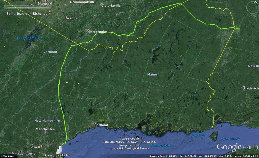 Casco's round-abount route back to the coast -- a grand tour that crossed six states and provinces in the past three weeks. (©Project SNOWstorm and Google Earth)
