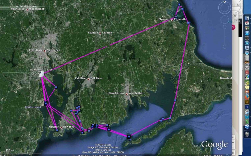 Wampum's circumnavigation around southern New England the past two months, after we'd all but given up on her. (©Project SNOWstorm and Google Earth)
