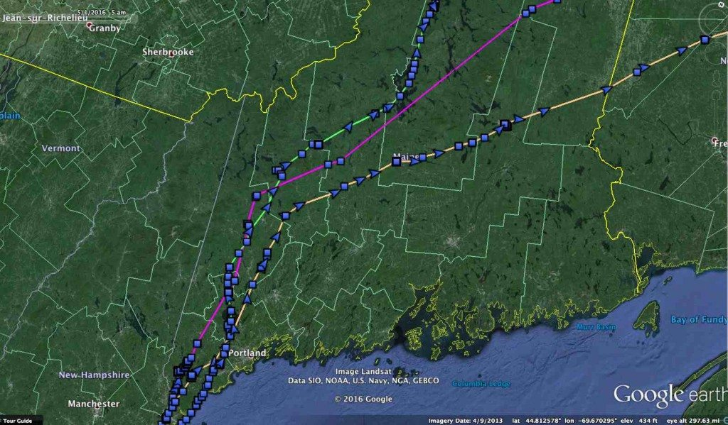 Salisbury (purple), Brunswick (green) and Casco (orange) followed remarkably similar routes north through western Maine, then diverged as they headed to the Gulf of St. Lawrence (©Project SNOWstorm and Google Earth)