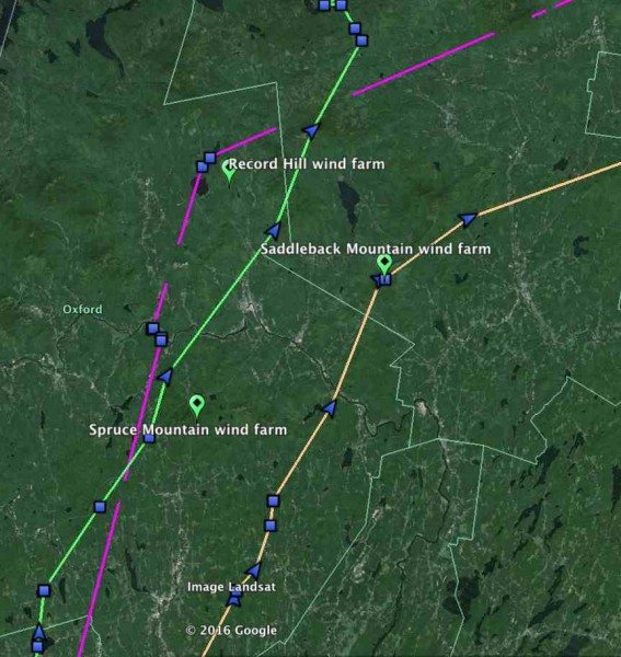 Three tagged owls -- Salisbury (purple), Brunswick (green) and Casco (orange) took routes north through west-cenral Maine, an area of significant wind-energy development. (©Project SNOWstorm and Google Earth)